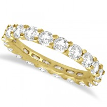 Round Moissanite Eternity Ring Anniversary Band 14K Yellow Gold 3.00ct