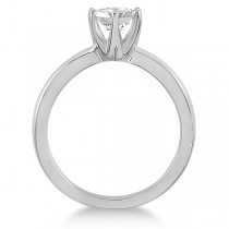 Round Solitaire Moissanite Engagement Ring 14K White Gold 1.50ctw