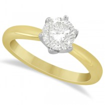 Round Solitaire Moissanite Engagement Ring 14K Yellow Gold 2.00ctw