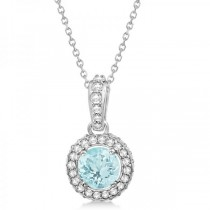 Diamond & Aquamarine Halo Pendant Necklace 14k White Gold (0.70ct)