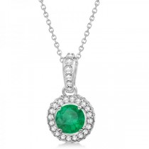 Diamond & Emerald Halo Pendant Necklace in 14k White Gold (0.73ct)