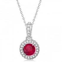 Diamond & Ruby Halo Pendant Necklace in 14k White Gold (0.90ct)