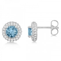 Diamond Accented Aquamarine Stud Earrings in 14k White Gold (0.83ct)