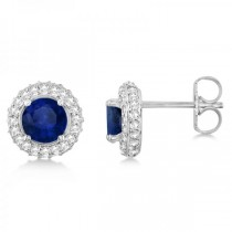 Diamond Accented Blue Sapphire Stud Earrings 14k White Gold (1.03ct)