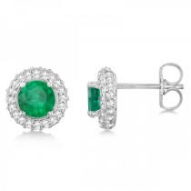 Diamond Accented Emerald Stud Earrings in 14k White Gold (0.86ct)