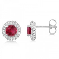 Diamond Accented Ruby Stud Earrings in 14k White Gold (1.03ct)