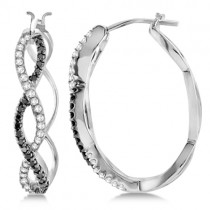 White and Black Diamond Hoop Earrings Infinity 14K White Gold  0.51ct