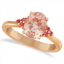 Floral Pink Tourmaline & Morganite Ring in 14k Rose Gold (1.98ct)