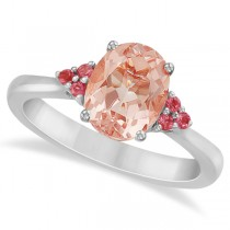 Floral Pink Tourmaline & Morganite Ring in 14k White Gold (1.98ct)