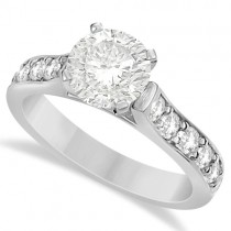 Moissanite Engagement Ring & Wedding Band Set 14K W. Gold 2.25ctw