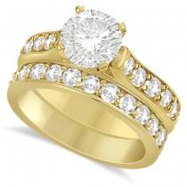 Moissanite Engagement Ring & Wedding Band Set 14K Y. Gold 2.25ctw