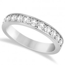 Semi Eternity Moissanite Wedding Ring Band 14K White Gold 0.65ctw