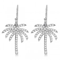 Dangle Diamond Palm Tree Earrings 14K White Gold (0.50ct)|escape