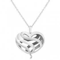 Swril Heart Fashion Pendant Necklace in 14k White Gold