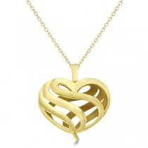 Swirl Heart Fashion Pendant Necklace in 14k Yellow Gold