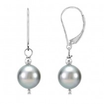 Freshwater Cultured Silver Grey Pearl Earrings Sterling Silver 10-11mm