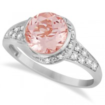 Cocktail Diamond and Morganite Ring in 14k White Gold (2.04ct)