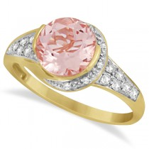 Cocktail Diamond and Morganite Ring in 14k Yellow Gold (2.04ct)