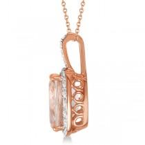 Diamond and Cushion Morganite Pendant Necklace 14k Rose Gold (2.61ct)|escape