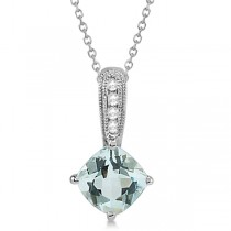 Cushion Cut Aquamarine & Diamond Pendant in 14k White Gold 0.81ctw