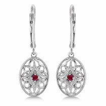 Leverback Vintage Ruby Earrings in Sterling Silver (0.06ct)