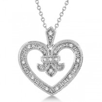 Diamond Fleur De Lis Heart Pendant Necklace Sterling Silver 0.10ct
