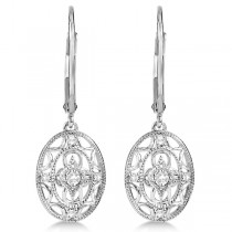 Antique Milgrain Diamond Drop Earrings in Sterling Silver 0.10ct