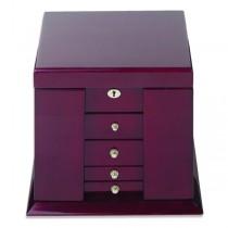 Women's Large Oakwood Jewelry Box with Inside Mirror, Key Lock, 4 Drawers