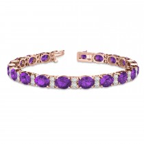Diamond & Oval Cut Amethyst Tennis Bracelet 14k Rose Gold (13.62ct)