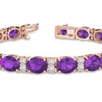 Diamond & Oval Cut Amethyst Tennis Bracelet 14k Rose Gold (13.62ct)