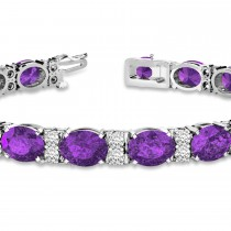 Diamond & Oval Cut Amethyst Tennis Bracelet 14k White Gold (13.62ct)