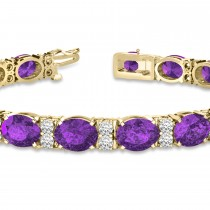 Diamond & Oval Cut Amethyst Tennis Bracelet 14k Yellow Gold (13.62ct)