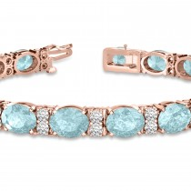 Diamond & Oval Cut Aquamarine Tennis Bracelet 14k Rose Gold (13.62ct)