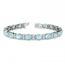 Diamond & Oval Cut Aquamarine Tennis Bracelet 14k White Gold (13.62ct)
