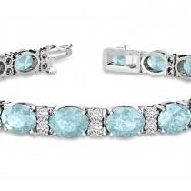 Diamond & Oval Cut Aquamarine Tennis Bracelet 14k White Gold (13.62ct)|escape
