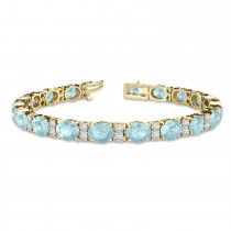 Diamond & Oval Cut Aquamarine Tennis Bracelet 14k Yellow Gold (13.62ct)