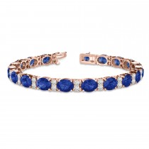 Diamond & Oval Cut Sapphire Tennis Bracelet 14k Rose Gold (13.62ctw)