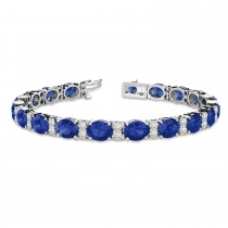 Diamond & Oval Cut Sapphire Tennis Bracelet 14k White Gold (13.62ctw)
