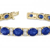 Diamond & Oval Cut Sapphire Tennis Bracelet 14k Yellow Gold (13.62ctw)