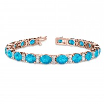 Diamond & Oval Cut Blue Topaz Tennis Bracelet 14k Rose Gold (13.62ct)
