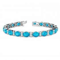 Diamond & Oval Cut Blue Topaz Tennis Bracelet 14k White Gold (13.62ct)