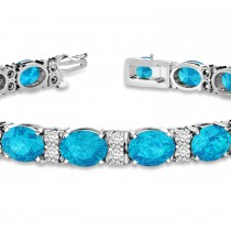 Diamond & Oval Cut Blue Topaz Tennis Bracelet 14k White Gold (13.62ct)|escape