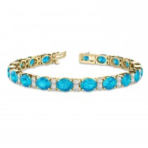 Diamond & Oval Cut Blue Topaz Tennis Bracelet 14k Yellow Gold (13.62ct)