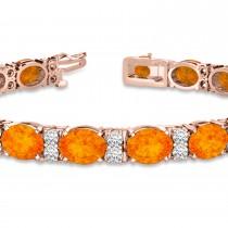 Diamond & Oval Cut Citrine Tennis Bracelet 14k Rose Gold (13.62ct)