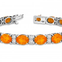 Diamond & Oval Cut Citrine Tennis Bracelet 14k White Gold (13.62ct)|escape