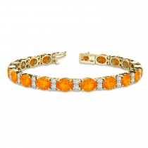 Diamond & Oval Cut Citrine Tennis Bracelet 14k Yellow Gold (13.62ct)