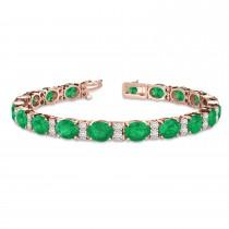Diamond & Oval Cut Emerald Tennis Bracelet 14k Rose Gold (13.62ctw)