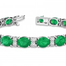 Diamond & Oval Cut Emerald Tennis Bracelet 14k White Gold (13.62ctw)