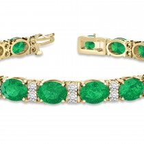 Diamond & Oval Cut Emerald Tennis Bracelet 14k Yellow Gold (13.62ctw)