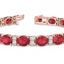 Diamond & Oval Cut Garnet Tennis Bracelet 14k Rose Gold (13.62ct)